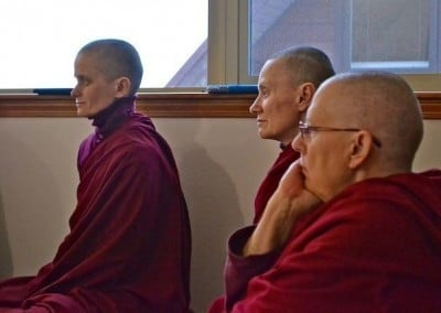 The Abbey sangha listens to Ven. Heng Chen's life story with rapt attention.