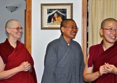 Smiling bhikshunis.