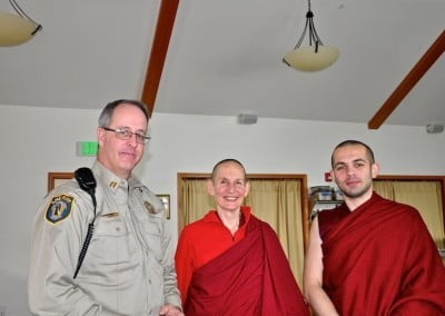 New friends: Captain Geoff Rusho and Vens. Tsepal and Tenzin.