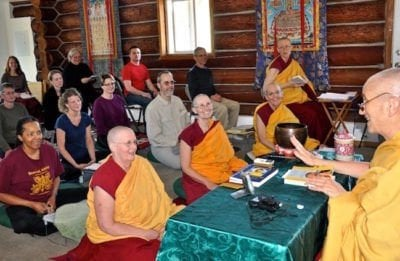 Guests and residents learn and enjoy the teachings.