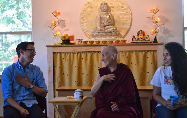 Ven. Chodron with young man and woman from Interfaith Council.