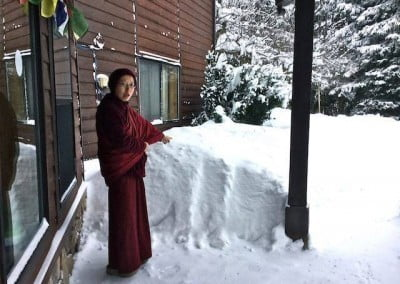 "Ven. Damcho exclaims, ""Look at all that snow!"""