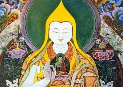 Stylized Buddhist painting of lama