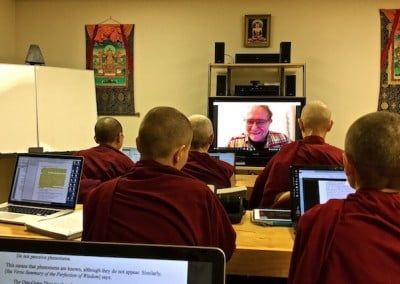 Jeffery Hopkins meets with the Abbey community via Skype to give teachings each week.