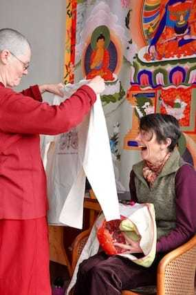 With gratitude, Ven. Chonyi offers gifts to LaShelle on behalf of the Abbey.