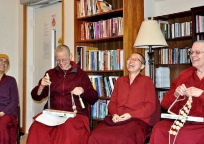 Delighted, monastics respond to the gift.