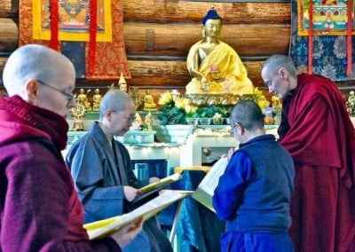 The sangha begins rehearsals as soon as the visiting bhikshunis arrive the day before the ordination.