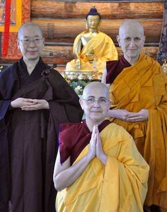 Venerable Thubten Nyima with her upadhaya and acharya.