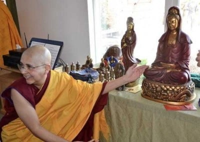 Ven. Nyima makes offerings to the sangha with gratitude.