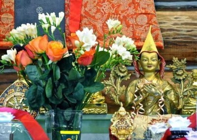 Beautiful offerings displayed for Lama Tsongkhapa.