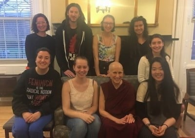 Ven. Chodron connects with students at Smith College in Massachusetts, where she spends time in the classroom, meets with faculty, and gives a public talk.