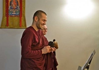 Ven. Tenzin, who will be leading the chanting in Russia when Ven. Chodron visits, gets a chance to practice with support.
