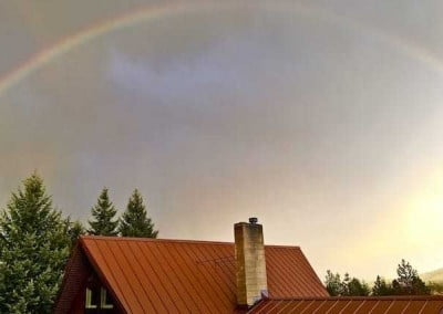 Rainbow over Ananda Hall.