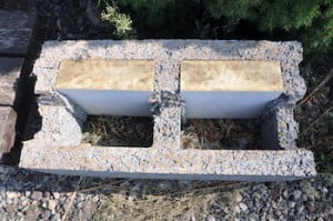 Concrete block with insulation.