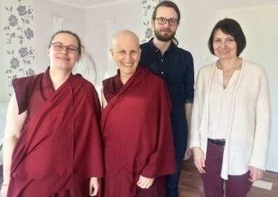 Ven. Chodron reconnects with Lydie (left) and Matthias—both have visited the Abbey—and Eva.