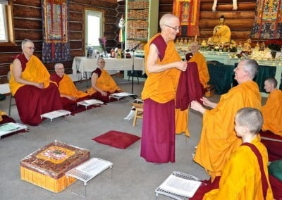 Ven. Semkye shows the new robe to the bhikshunis.