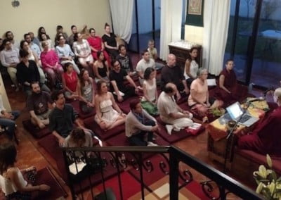 An evening teaching at Centro Khamlungpa, a center with the Foundation for the Preservation of the Mahayana Traditions (FPMT).