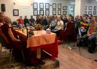 A full house and many questions at Ven. Chodron's public talks on karma in Moscow.