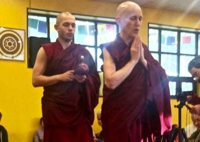 At the Amitabha retreat, Ven. Chodron and Ven.Tenzin demonstrate walking while chanting.