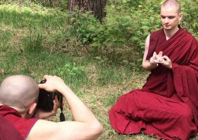 Vens. Tenzin and Tenpa take time for a photo shoot.
