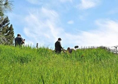 two men in field against blue sky