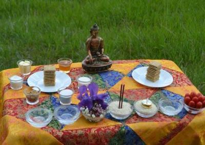 Buddhist statue on outdoor altar