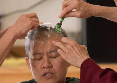 head being shaved