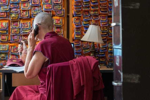 nun speaking on the phone