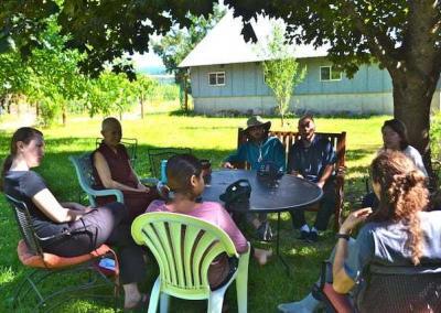 group talking in a garden