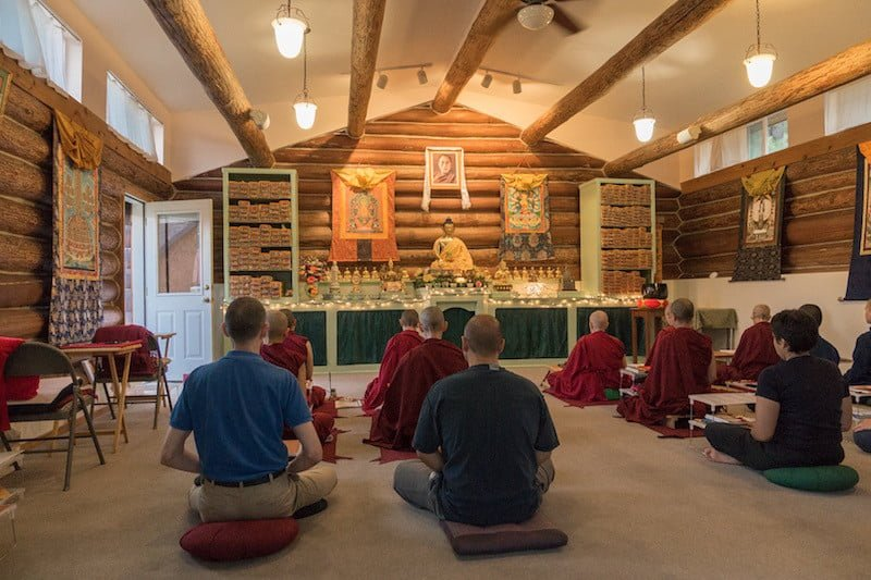 meditators sitting in the Meditation Hall