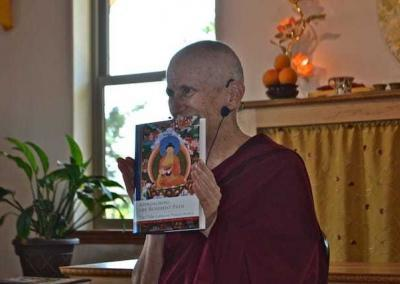 Ven. Chodron rejoices in the arrival of the new book, Approaching the Buddhist Path, co-written with His Holiness the Dalai Lama.
