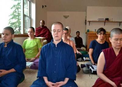Lay people sitting and meditation