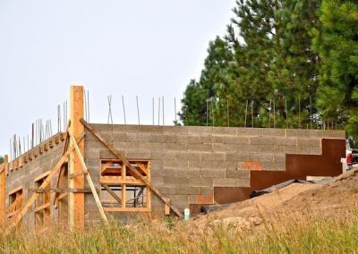 block wall and framing