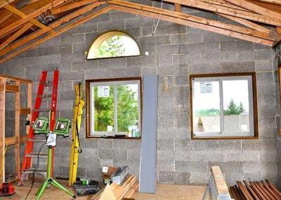Windows in building under constrluction