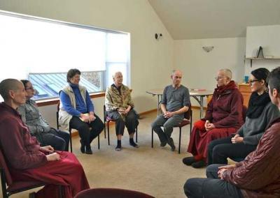 circle discussion of nuns and laypeople