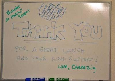 Thank you written on a white board