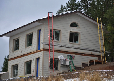 The fire resistant cement fiber siding has gone up quickly.