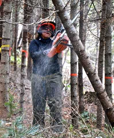 woman with chainsaw in forest