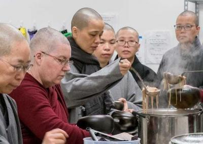 Volunteers create delicious meals to feed the nuns.