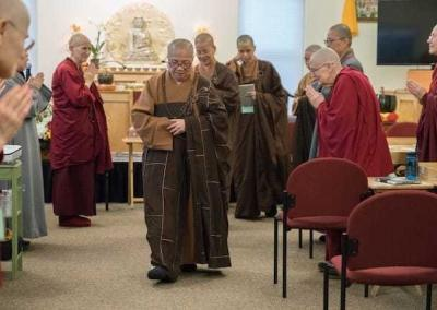 Venerable Master and faculty at the end of a teaching session.