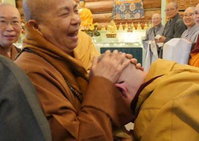 The Master recognizes nuns from the 1996 Life as a Western Buddhist Nun course that she taught in Bodhgaya, India.