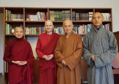 At Dharma Drum, they meet Venerable Master Huimin (center)—who has kindly served as the Abbey's Varsa master since we began doing the annual monastic retreat in 2014—and Ven. Losang's guide, Ven. Wuxing.