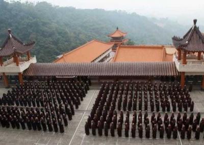 long rows of monastics standing