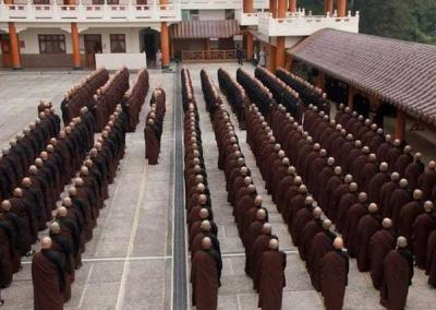 About 140 monks and 250 nuns take part in the Triple Platform ordination. Trainees first renew their novice precepts, followed by the full ordination. The program finishes with taking the bodhisattva precepts.