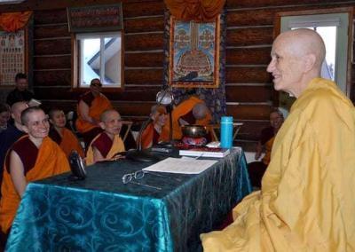 nun teaching in meditation hall