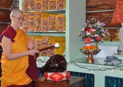 The Incense Offering chant—chanted with wooden fish, hand bell, and gong—begins the varsa rite.