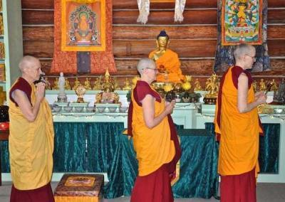 The chant leader, wooden fish-player, and Abbess—Ven. Chodron—process to the back of the Meditation Hall where the community chants praises to Weituo Pusa, the special bodhisattva who looks over the monastic sangha.