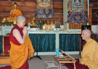 "Ven. Pema is the last to recite the words to enter varsa: ""I will rely on Sravasti Abbey to observe the varsa."" ""Good,"" replies the abbess. ""Do not let your mind be uncontrolled."""