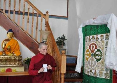 Ven. Jampa offers a beautiful double dorje to the community as she returns to Germany to continue her education.