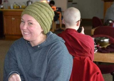 It's study time, and Karen enjoys tea with her Dharma.